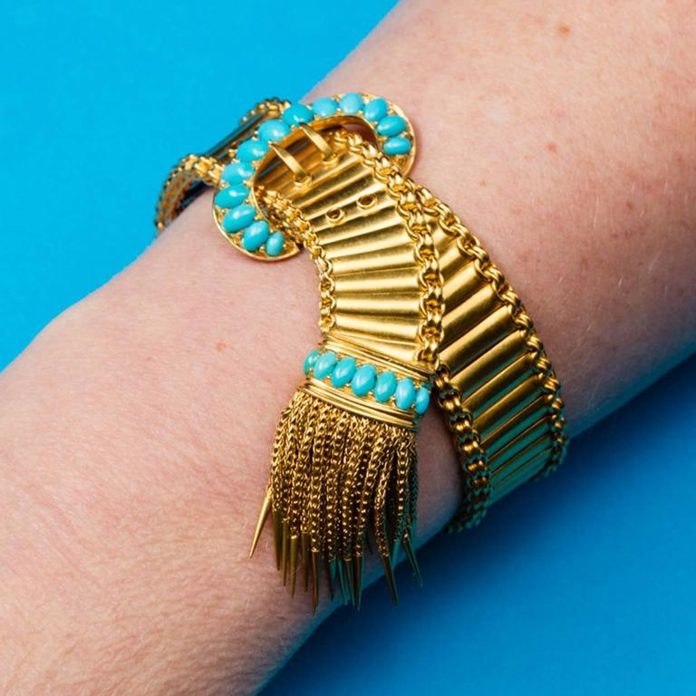 Antique English Victorian Turquoise Gold Buckle and Tassel Bracelet For Sale 2
