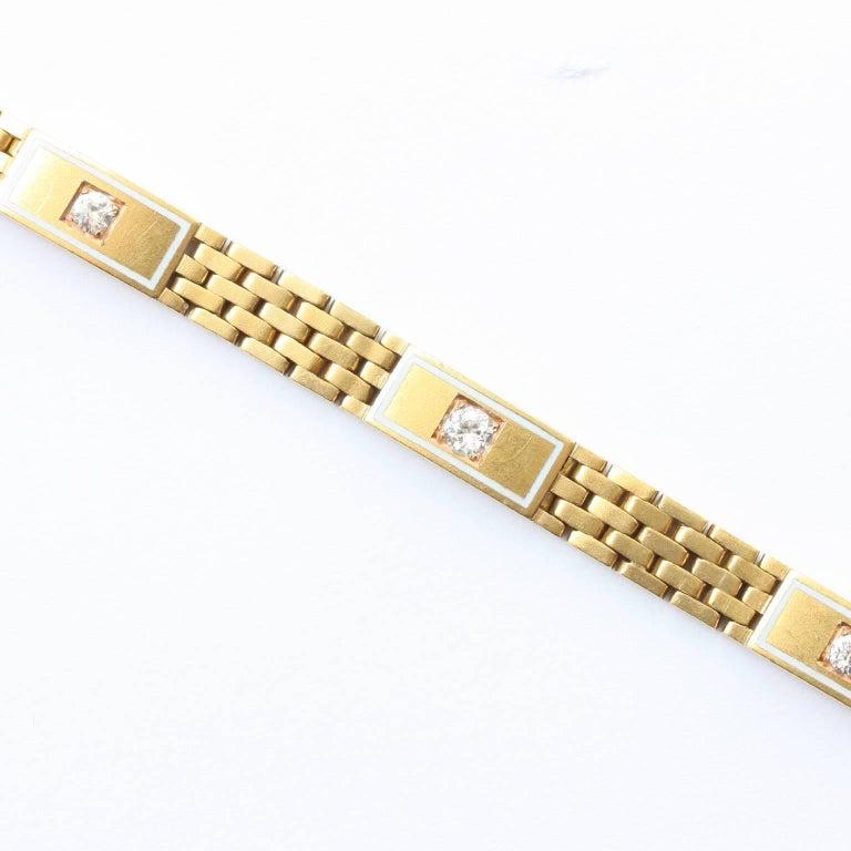Art Deco Diamond Brick Pattern Gold Bracelet 2