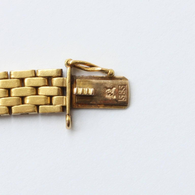 Art Deco Diamond Brick Pattern Gold Bracelet 4
