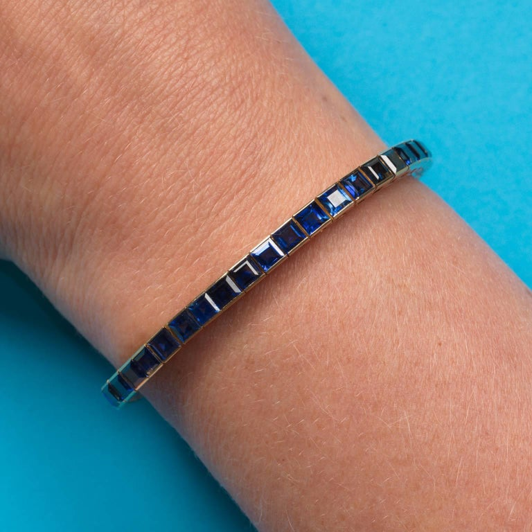 Chaumet Natural No Heat Sapphire and Gold Line Bracelet 5