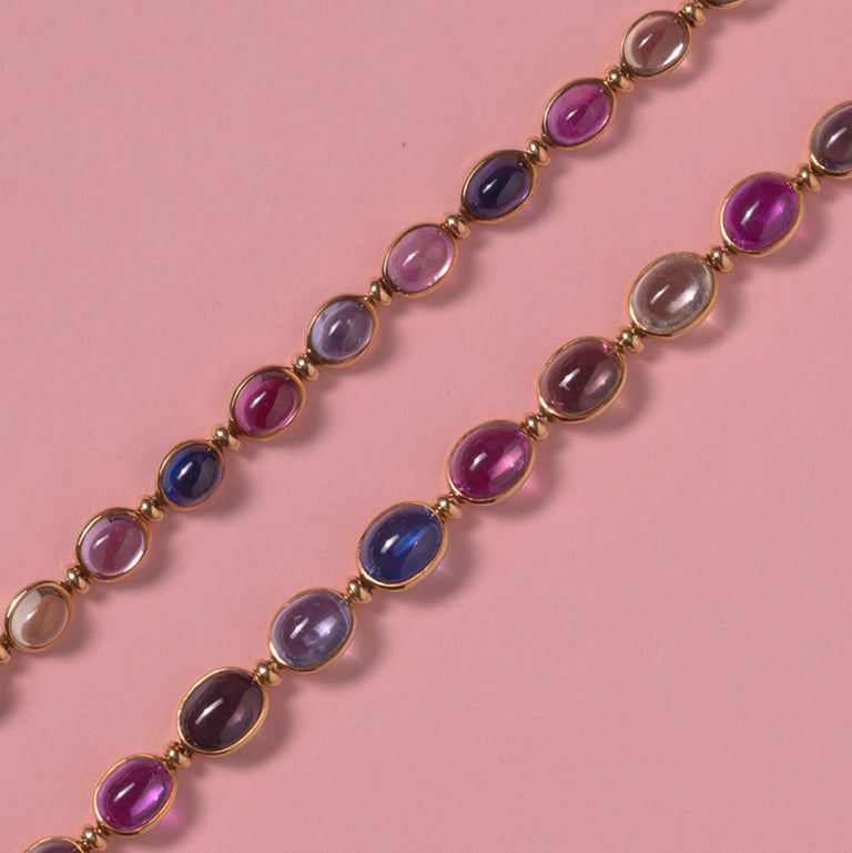 Bulgari Gold Necklace or Bracelets with Colored Sapphires In Excellent Condition For Sale In Amsterdam, NL