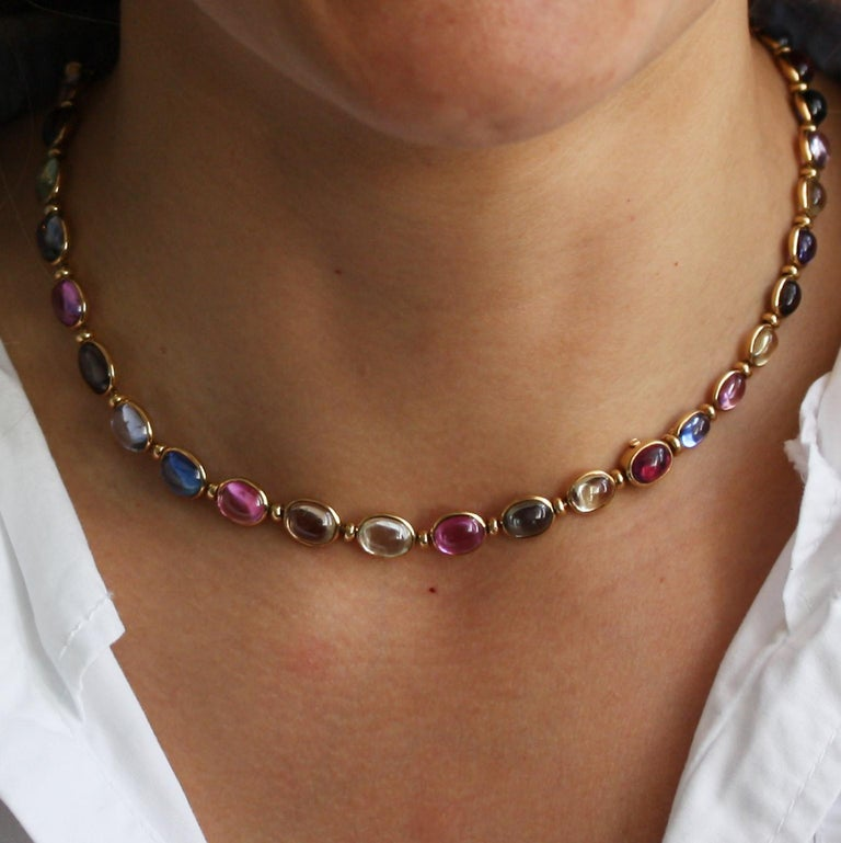 Women's Bulgari Gold Necklace or Bracelets with Colored Sapphires For Sale