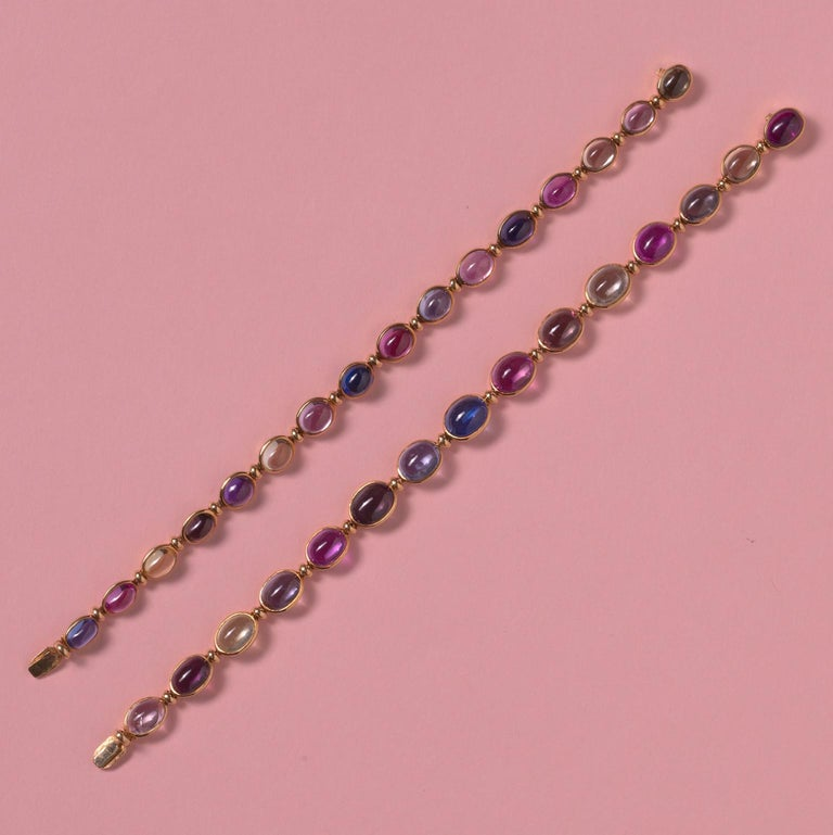 Bulgari Gold Necklace or Bracelets with Colored Sapphires For Sale 4