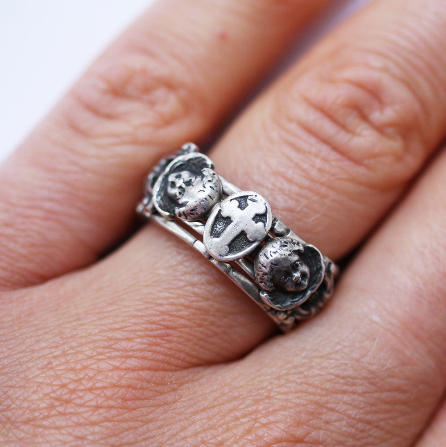 Rare Silver Neo Renaissance Angel Puzzle Ring at 1stdibs