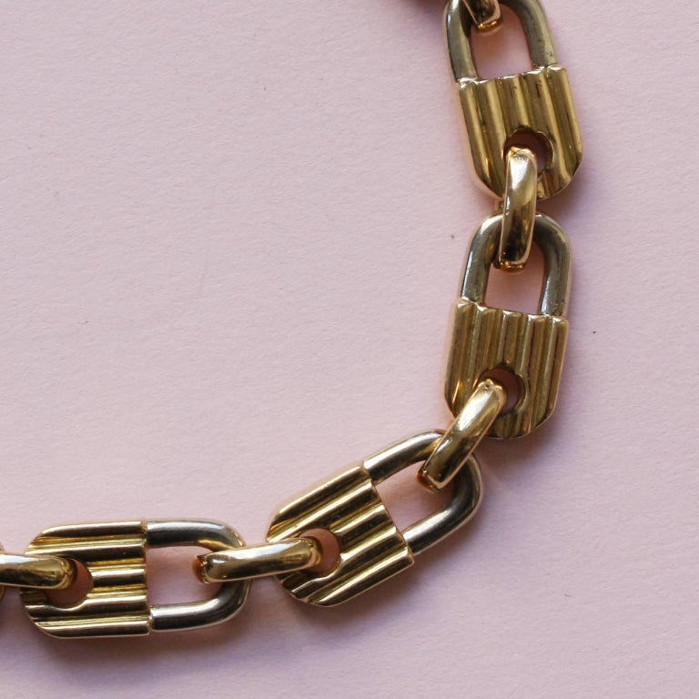 Mauboussin Bi-Color Gold Lock Bracelet In Excellent Condition For Sale In Amsterdam, NL