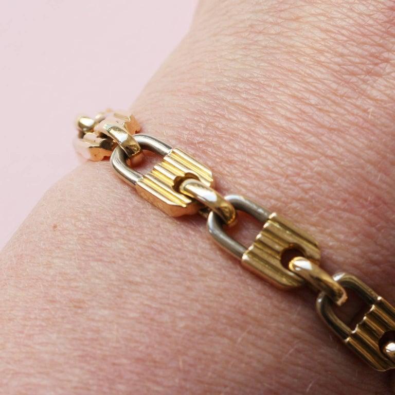 Mauboussin Bi-Color Gold Lock Bracelet For Sale 2