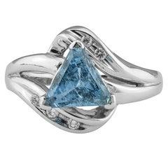1.56 Carat Triangular Aquamarine Ring
