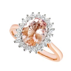 18K Rose Gold 2.27CT Natural Oval Morganite Cluster Ring with 20 VS/G Diamonds