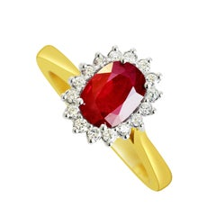 18K Gold 1.60 Carat Natural Oval Burmese Ruby Cluster Ring With 16 VS/G Diamonds