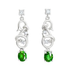 18 Karat Gold Natural Tsavorite Garnet Drop Earrings with 22 Points of Diamonds