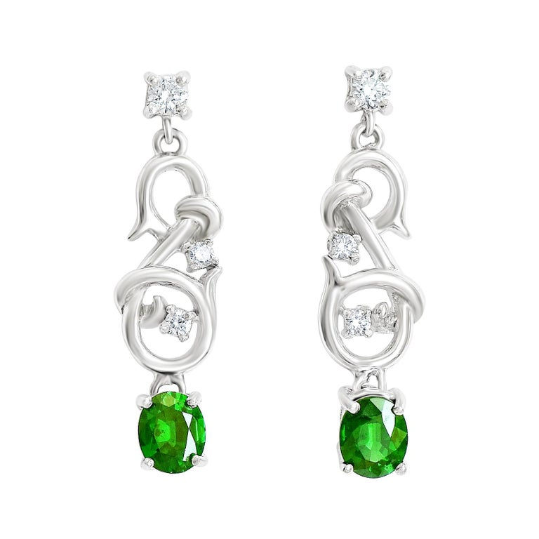 18 Karat Gold Natural Tsavorite Garnet Drop Earrings With 22 Points Of Diamonds For