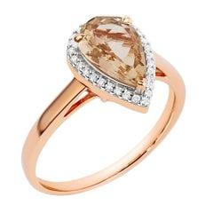 1.28 Carat Natural Pear Morganite Halo Microset Diamond Ring Solid Rose Gold