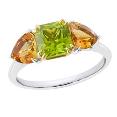 18K Solid Gold Natural Asscher Cut Peridot and Trilliant Citrine Solid Gold Ring