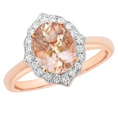 18 Karat Gold Natural 1.80 Carat Morganite 20 FG/VS Diamond Halo Ring Handmade