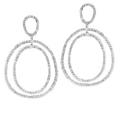 "18 Karat White Gold and Pavé White Diamond ""Double Again"" Earrings"
