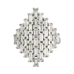 18k White Gold  Baguette White Diamond Shield Ring