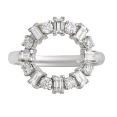 """18k White Gold and Diamond """"Baguette Round"""" Engagement Ring"""