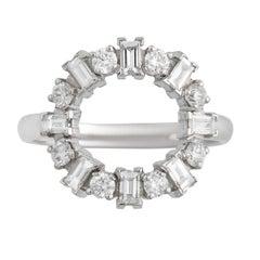 """18k White Gold White Diamond """"Baguette Round"""" Engagement Ring"""