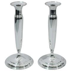 Tiffany Candlesticks - Large & Sleek - American Sterling Silver - C 1907