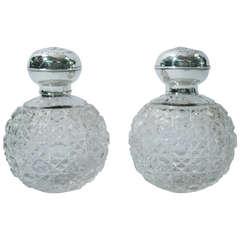 Pair of Edwardian English Sterling Silver & Cut Glass Perfume Bottles