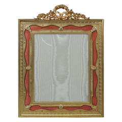 Very Large French Dore Bronze Frame with Pink Enamel Ribbon