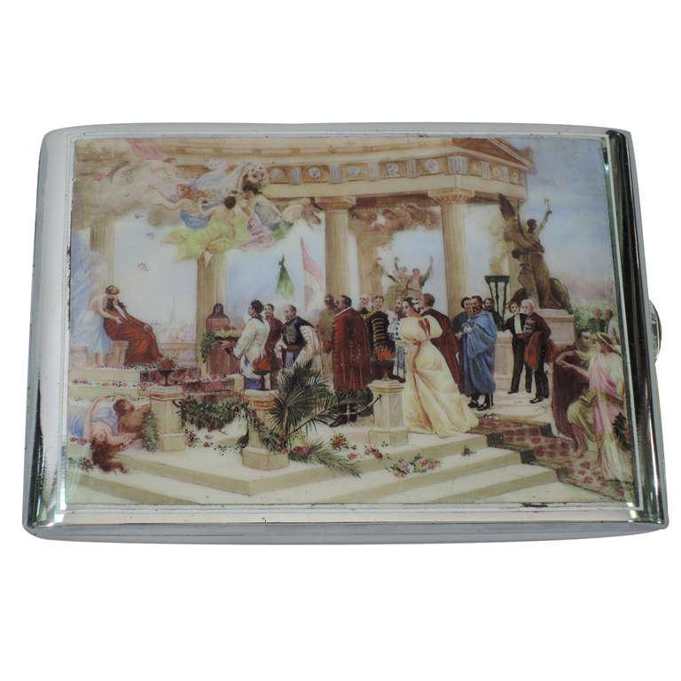 Antique Austrian Silver & Enamel Cigarette Case with Classical Scene