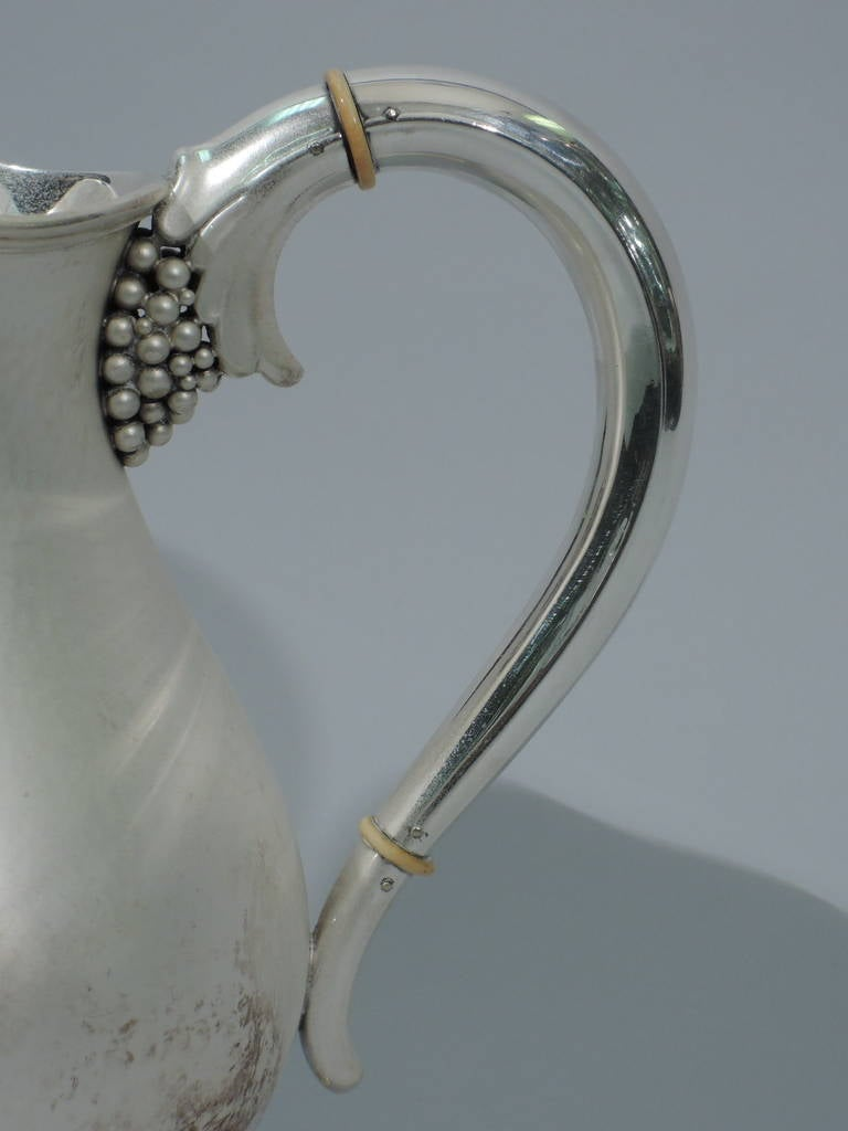 Danish Modern Sterling Silver Water Pitcher in Jensen Style For Sale 3