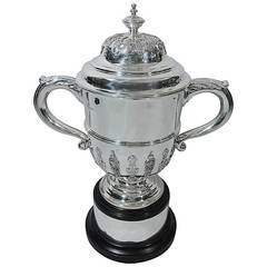 Victorian English Large and Heavy Sterling Silver Trophy Cup