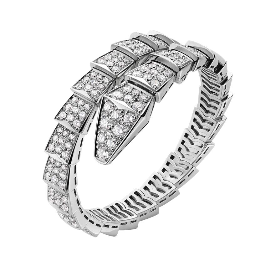 Bulgari Serpenti One Coil Bracelet In 18 Karat White Gold With Pave Diamonds For At 1stdibs