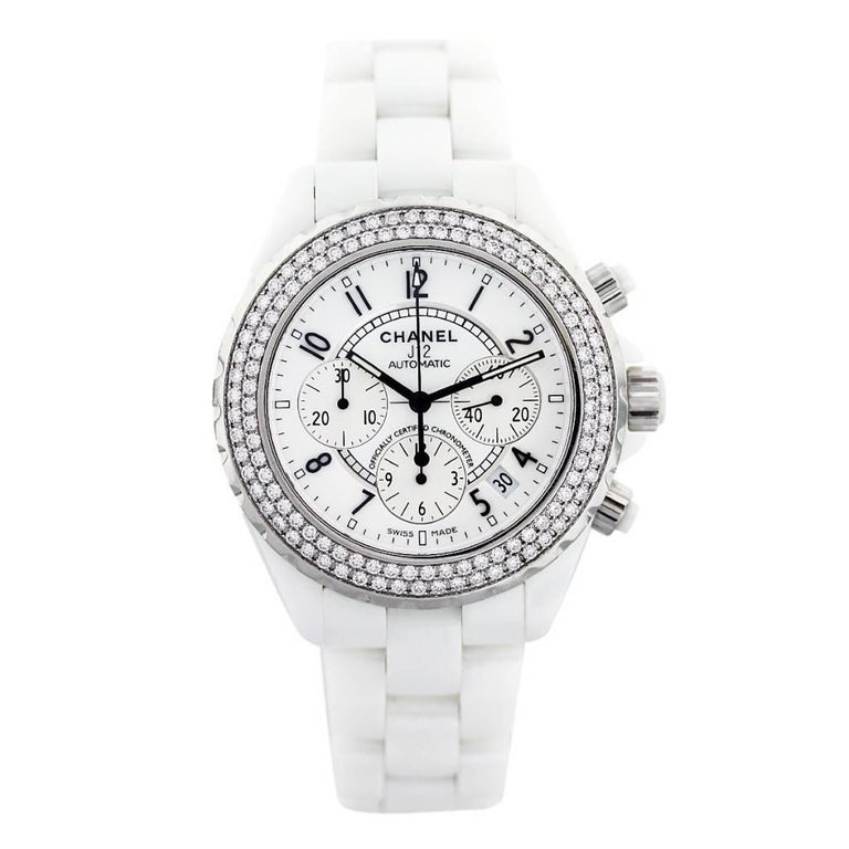 Chanel J12 Automatic Chronograph Watch, White Ceramic