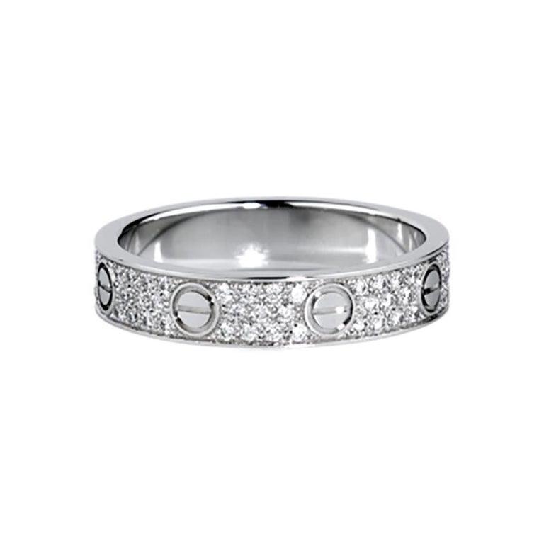 Cartier Love Wedding Band Diamond-Paved 18 Karat White Gold Ring