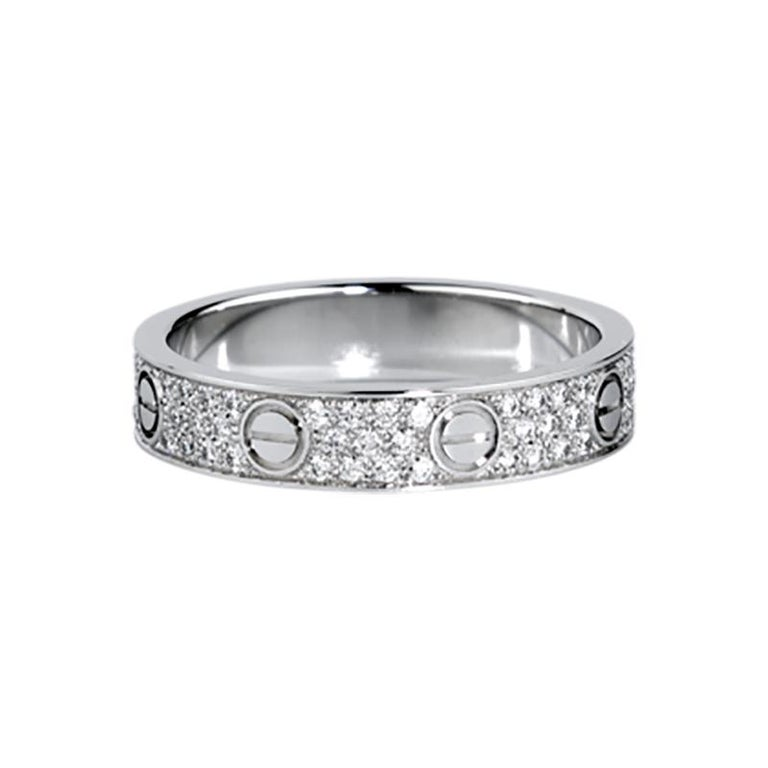 Cartier Love Wedding Band Diamond Paved White Gold Ring For Sale At