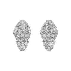 Bulgari 18 Karat White Gold Serpenti Full Diamond Pave Earrings