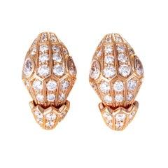 Bulgari Serpenti 18 Karat Rose Gold Pave Diamond Earrings