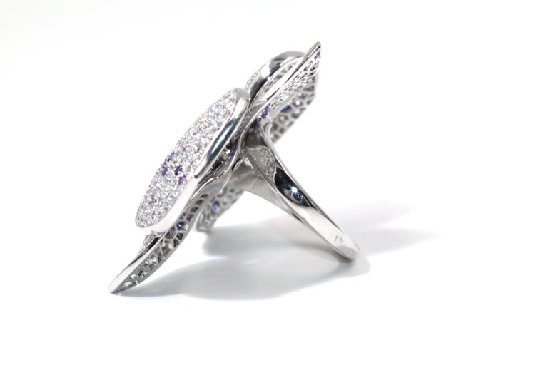 Cartier White Gold Orchard Flower Ring, Diamond, Sapphire, Amethyst For Sale 1