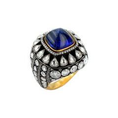14,12 Carat Tanzanite 4,12 Carat Diamond 18 Karat Rose Gold Heritage Ring