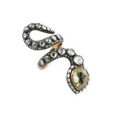 4.03 Carat Emerald 2.25 Carat Rose Cut 18 Karat Rose Gold Heritage Ring