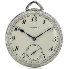 Tiffany & Co. Platinum Pocket Watch with Diamond Bezel Powered by Patek Philippe