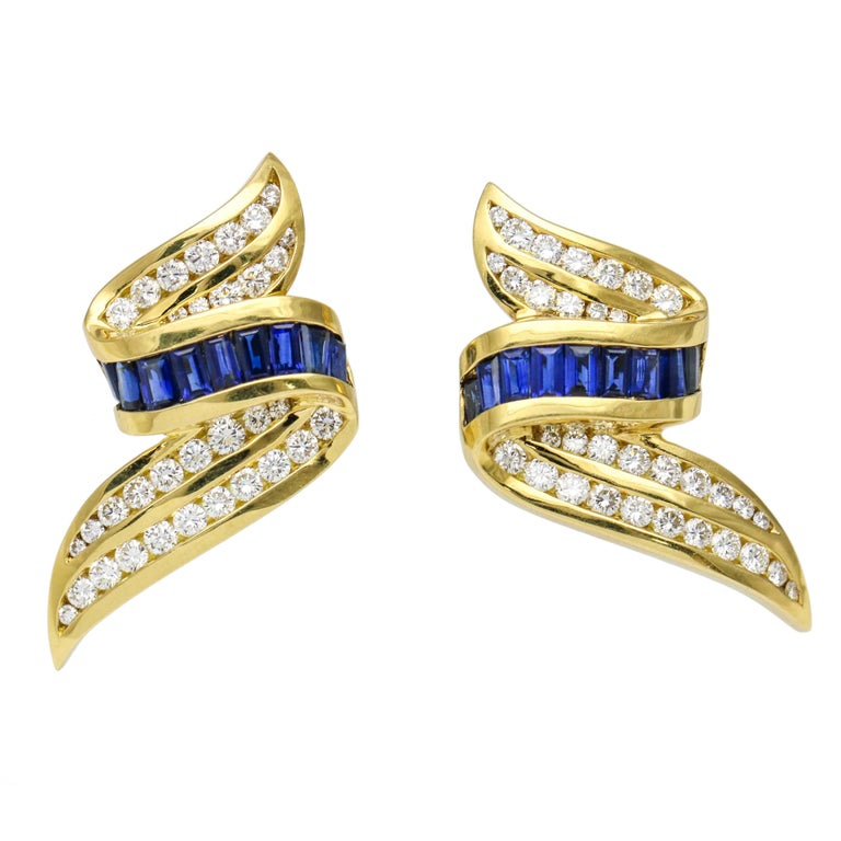 Charles Krypell Sapphire and Diamond 18 Karat Yellow Gold Clip-On Earrings
