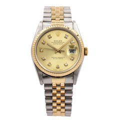 Rolex Datejust 16233 Stainless Steel and 18 Karat Yellow Gold Wristwatch