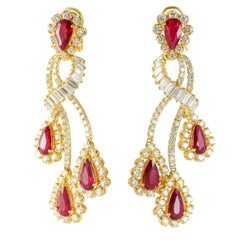 15.02 Carat Ruby and Diamond 18 Karat Yellow Gold Chandelier Earrings