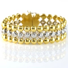 5.40 Carat 18 Karat White and Yellow Gold Diamond In-Line Bracelet