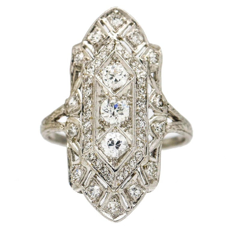 Art Deco Platinum Three-Stone Diamond Cocktail Ring