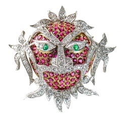 10.6 Carat Ruby, Emerald and Diamond 18 Karat Gold Carnival Ornate Mask Brooch