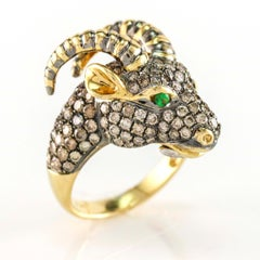 2.25 Carat Champagne Diamonds 18 Karat Gold Goats Head Fashion Ring