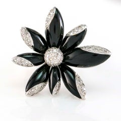 1.23 Carat Diamond Lily Onyx Flower 18 Karat White Gold Cocktail Ring