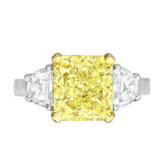 GIA Certified 4.09 Carat Natural Fancy Yellow Diamond Ring in Platinum/18K Gold