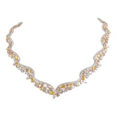 29.43 Carat Handcrafted Natural Color Diamond Tiara Necklace by Diamond Town