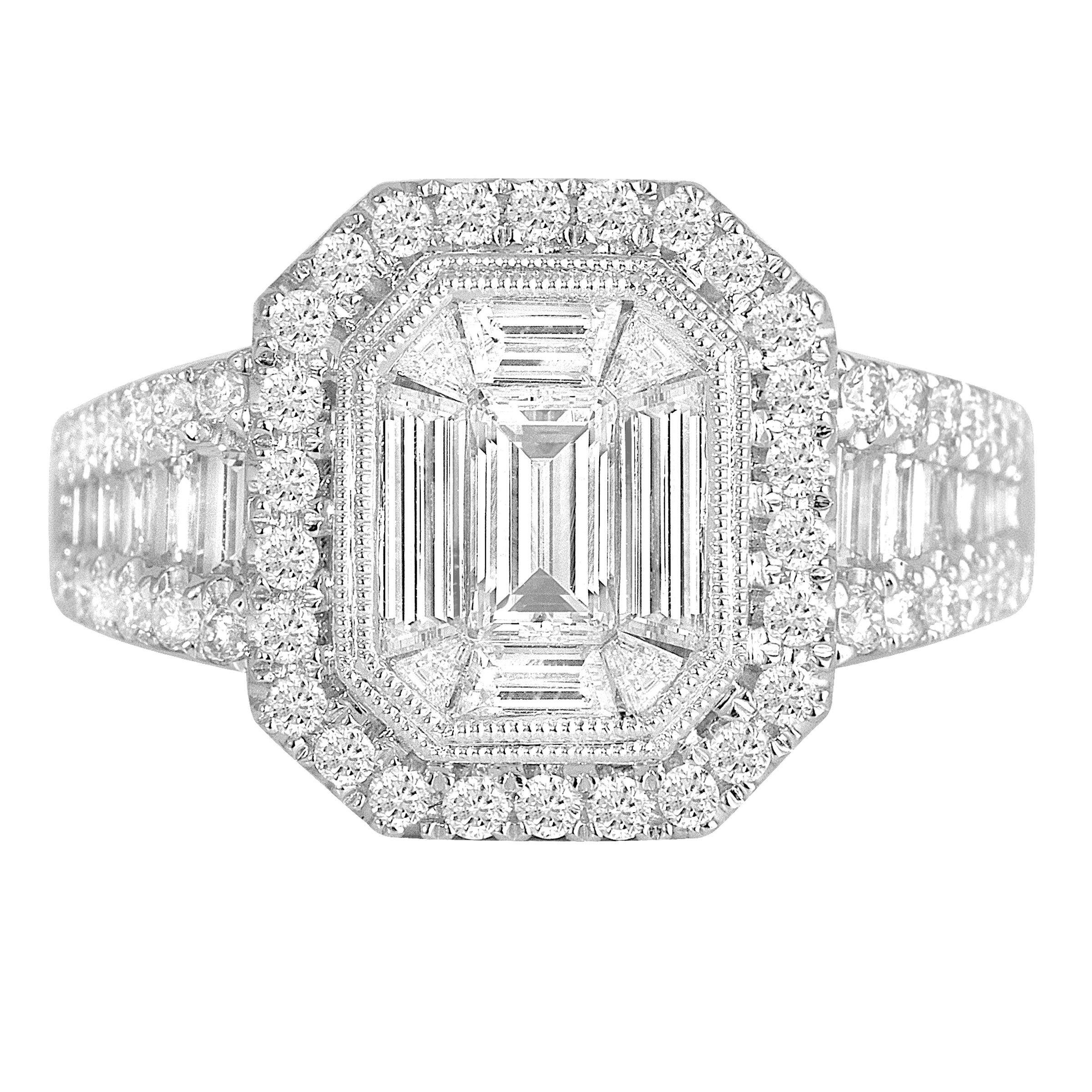 DiamondTown 1.37 Carat Diamond Engagement Bridal Cluster Ring in 18 K White Gold