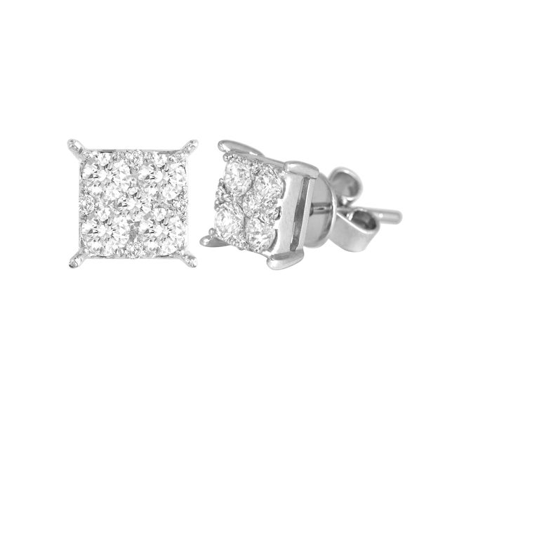 Beautiful 0.86 Carat Diamond Stud Earrings in 18K White Gold. Diamond quality GH/SI. The combination of round diamonds form to give a square shape princess look to these earrings.